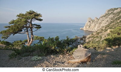 Beautiful view of Blue bay from cape Kapchik in Crimea early...