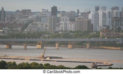 Beautiful view of bridge in Novosibirsk