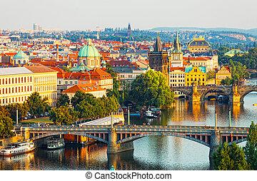 Beautiful view of bridges through Vltava in Prague, the Czech Republic