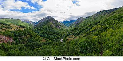 Beautiful view of canyon of river Tara in mountainous area, Montenegro
