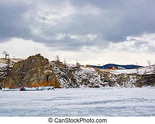 Beautiful view of Cape Burkhan at Lake Baikal