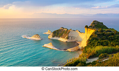 Beautiful view of Cape Drastis in the island of Corfu