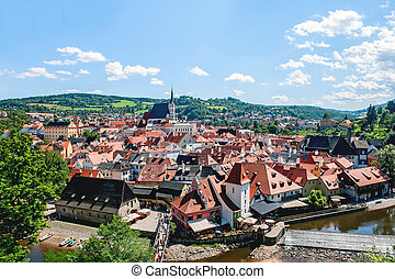 Beautiful view of cesky Krumlov with the Vltava river on a Sunny day.