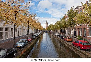 Beautiful view of channels in Delft (Netherlands) in sunny autumn day