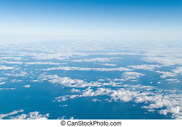 beautiful view of clouds from airplane