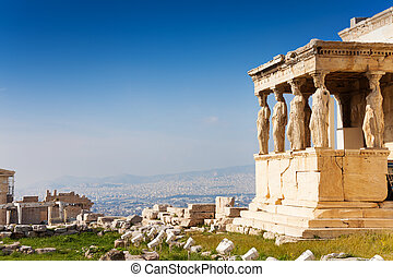 Beautiful view of Erechtheion in Athens, Greece