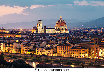Beautiful view of Florence in sunset