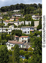 Beautiful view of hill houses in the village Saint-Paul-de-Vence , Provence, South France. Vertical image