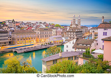 Beautiful view of historic city center of Zurich at sunset