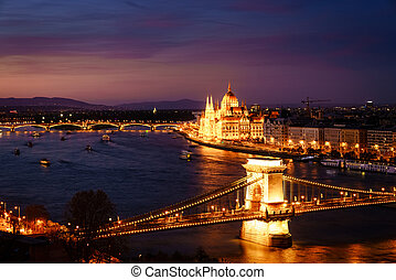 Budapest and the Danube River at night