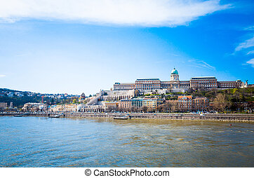 Beautiful view of historic Royal Palace in Budapest