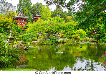 Beautiful view of Japanese Tea Garden in Golden Gate Park