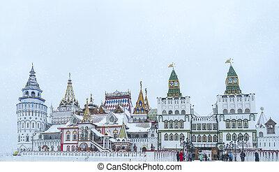 Beautiful view of kremlin in Izmailovo in winter snow ,...