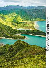 beautiful view of Lagoa do Fogo lake on the island of Sao Miguel, Azores, Portugal