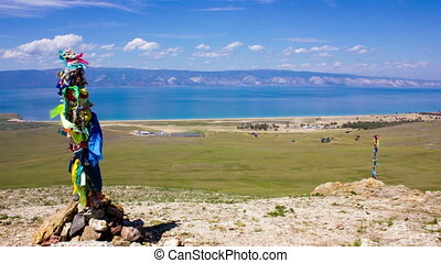 Beautiful view of Lake Baikal from the top of the mountain. Olkhon landscape