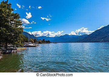 Beautiful view of Lake Maggiore in Locarno on a summer day, canton of Ticino, Switzerland.
