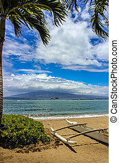 Beautiful view of Molokai Island from Kaanapali Beach, Maui, Haw