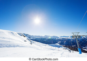 Beautiful view of mountain ski resort at sunny day