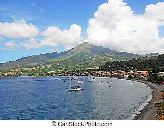 Beautiful View of Mt. Pelee, a volcano in Martinique, French West Indies