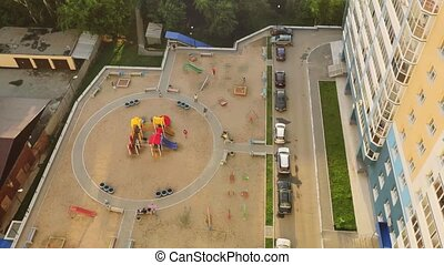 Beautiful view of Novosibirsk skyline at sunset and playground by the windows