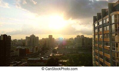 Beautiful view of Novosibirsk skyline at sunset