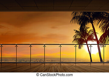 Beautiful view of ocean at sunset