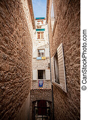 view of old narrow street at mediterranean city - Beautiful ...
