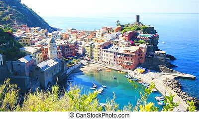 Beautiful view of old Vernazza from above. One of five famous colorful villages of Cinque Terre National Park in Italy.