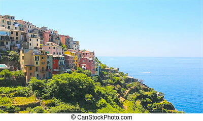 Beautiful view of old village from above in Cinque Terre. One of five famous colorful villages of National Park in Italy