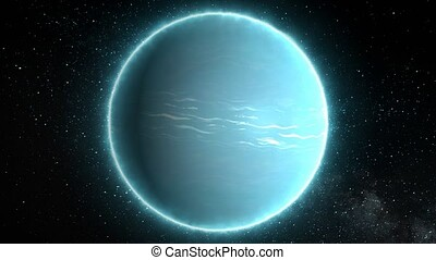 Beautiful View of Planet Uranus from Space Timelapse and Stars - 4K Seamless Loop Motion Background Animation