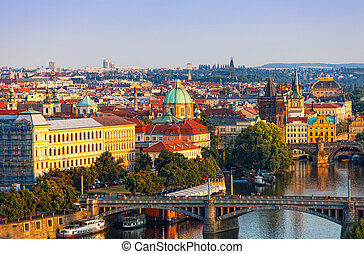 Beautiful view of Prague shined with the sun on a sunset