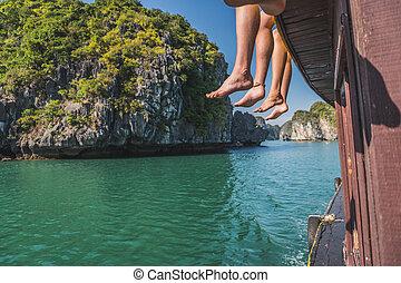Beautiful View Of Rock Island In Halong Bay, Vietnam.