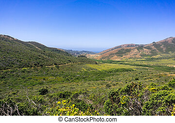 Beautiful view of Rodeo Valley in Marin Headlands, north San Francisco bay area, California