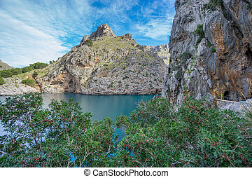 Beautiful view of Sa Calobra in Majorca - Wide angle view of...