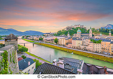 Beautiful view of Salzburg city skyline  in the summer at sunset