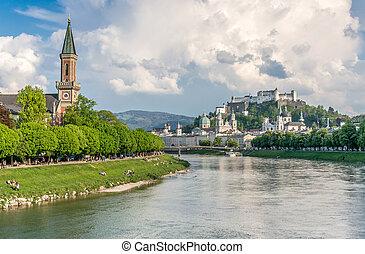 Salzburg skyline with Festung Hohensalzburg and Salzach river in summer, Salzburg, Salzburger Land, Austria