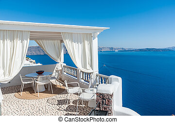 Beautiful view of Santorini island from a terrace