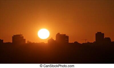 Beautiful view of skyline at sunset