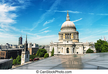 Beautiful view of St Paul Cathedral in London