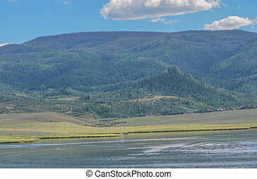 Beautiful view of Stagecoach Reservoir in the Colorado Rocky Mountains.