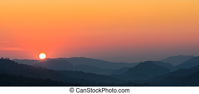 Beautiful view of sunset over mountains