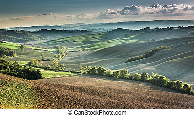 Beautiful view of the autumn landscape in Tuscany, Italy