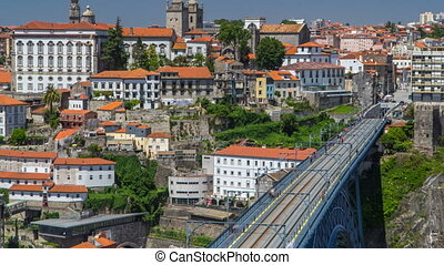Beautiful view of the Douro River timelapse and the embankment of the historic centre of Porto city on the blue sky background in Portugal at summer time.