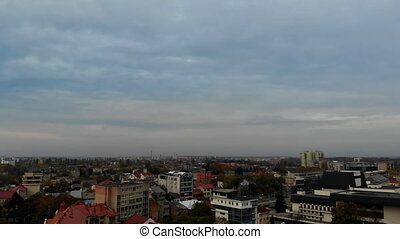 Beautiful view of the flying over center of the old town city Uzhgorod Ukraine