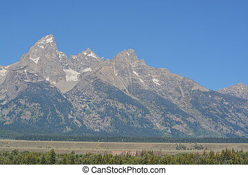 Beautiful view of the Grand Teton Mountains in the Grand Teton National Park, Wyoming