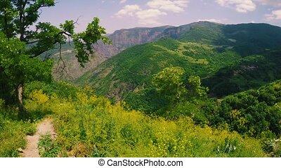 Beautiful view of the green valley, Tatev, Armenia