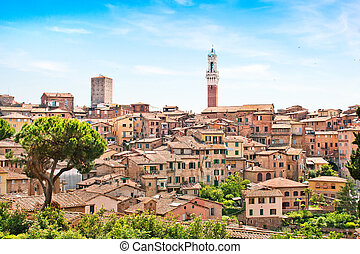 Beautiful view of the historic city of Siena, Italy