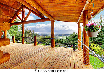 Beautiful view of the log cabin house porch. - Beautiful...
