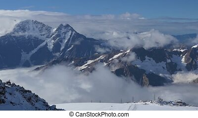 Beautiful view of the Main Caucasian Range. From the slopes...