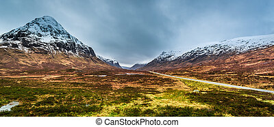 Beautiful view of the mountain pass in Scotland